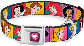 Buckle-Down Seatbelt Buckle Dog Collar - Disney Princess Blocks
