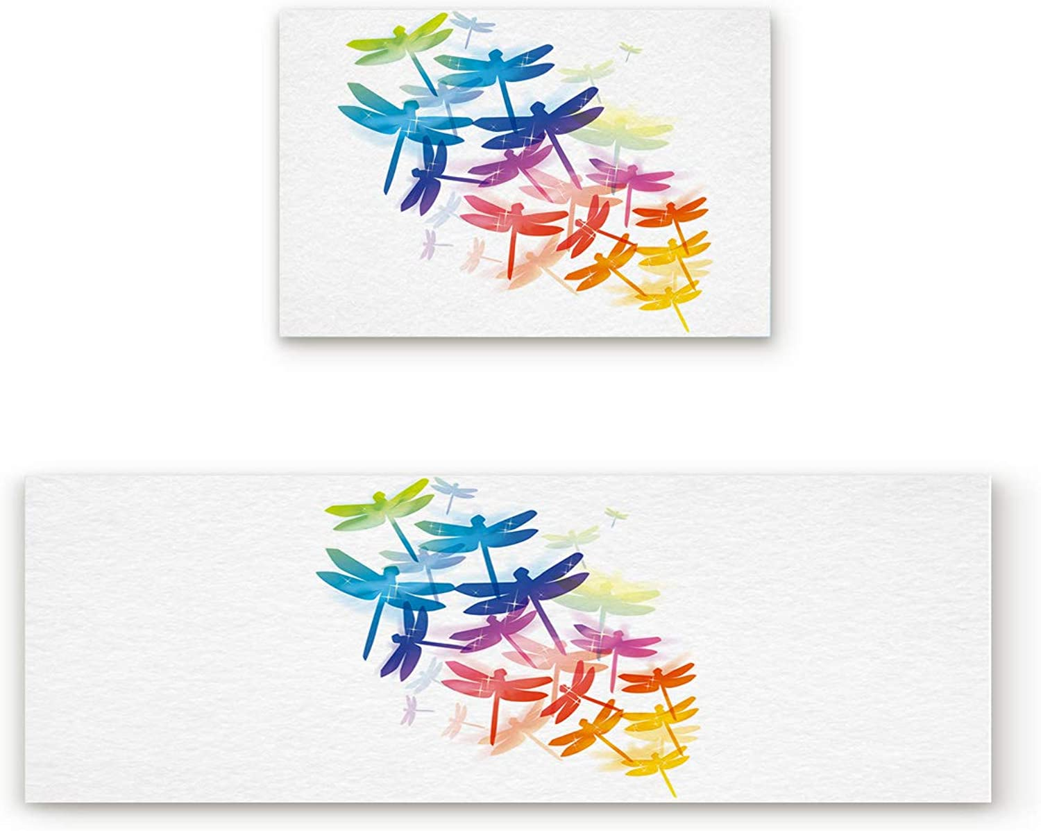 Aomike 2 Piece Non-Slip Kitchen Mat Rubber Backing Doormat colorful Cool Dragonfly Runner Rug Set, Hallway Living Room Balcony Bathroom Carpet Sets (19.7  x 31.5 +19.7  x 47.2 )