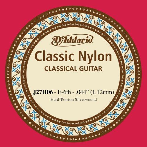 D'Addario J27H06, cuerda individual de nailon para guitarra clásica, nivel principiante, tensión dura, sexta cuerda
