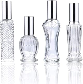 H&D Vintage Refillable Perfume Bottles Glass Empty Spray Bottle Wedding Gifts Car Decor Set of 4