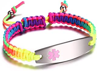 JF.JEWELRY Medical Alert ID Bracelet for Women Girls Multicolor Rainbow Braided Allergy Bracelets for Kids,Free Engraving