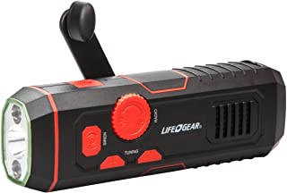 Life Gear LG38-60675-RED Stormproof Crank Flashlight | Radio with USB Charging In Out, Emergency Siren