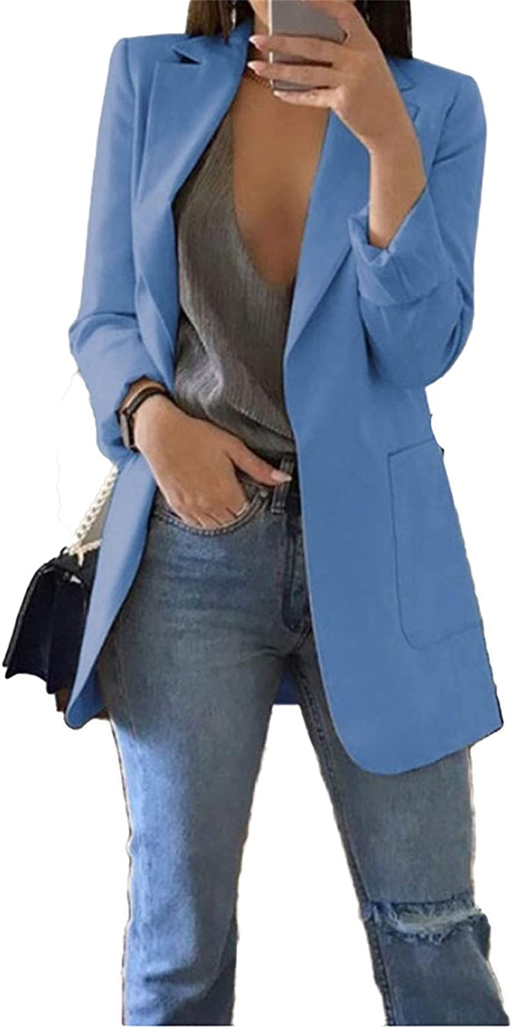 Andongnywell Womens Casual Blazers Open Front Long Sleeve Work Office Jackets Blazers with Pockets Overcoats Outwears