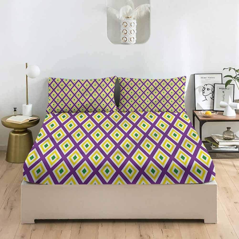 LCGGDB Mardi Gras Full Size Bed F Lily Set Fitted Carnival Oklahoma City discount Mall Sheet