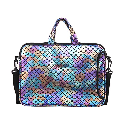 11.6-Inch Laptop Shoulder Messenger Carrying Bag Case Sleeve For 11' 11.6' 12' 12.5 inch Macbook/Notebook/Ultrabook/Chromebook, Mermaid Scale (Colorful)