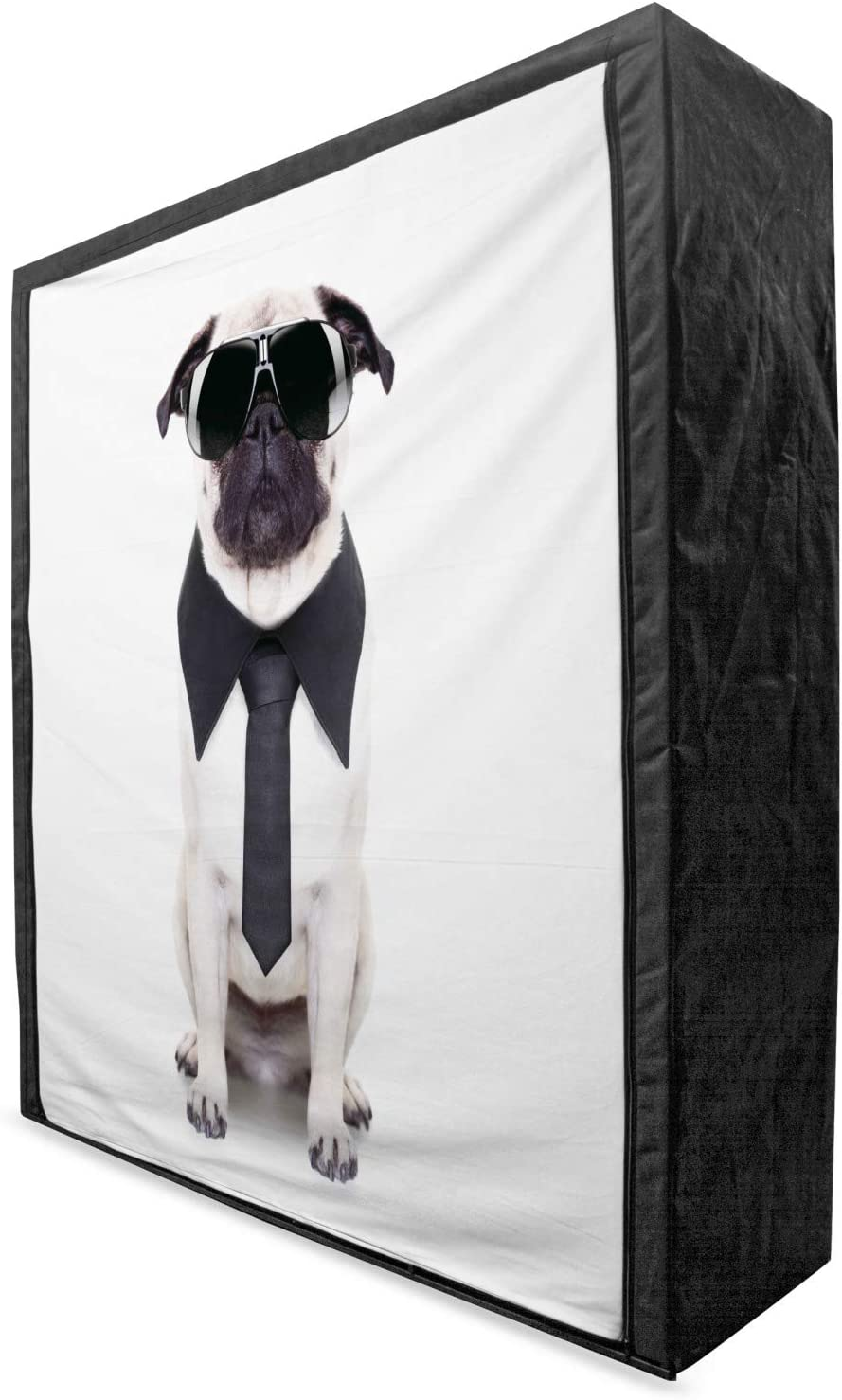 Ranking TOP15 Ambesonne Pug Portable Fabric Wardrobe Tucson Mall Tie Cool Dog and Looking