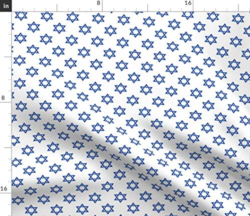 Spoonflower Fabric - Inch Blue Star White Hanukkah Chanukah Printed on Petal Signature Cotton Fabric by The Yard - Sewing Quilting Apparel Crafts Decor