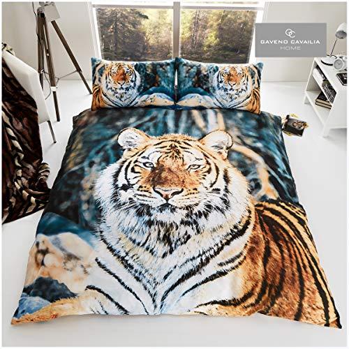 Gaveno Cavailia Wildlife Juego edredón Animales Salvajes en 3D, de fácil Cuidado, diseño Bengala y Funda de Almohada, Color, polialgodón, tamaño Doble, algodón, 50% poliéster, Tigre marrón, Doublé