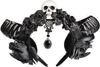 Nicemeet Simulation Sheep Horns Devil Headband, Flower Horns Hair Headband, Evil Witch Headband, Cosplay Headwear Halloween