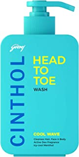 Cinthol Head to Toe, 3-in-1 Wash (Shampoo, Face-Wash & Body-Wash) for Men - COOL WAVE, 300ml, With Argan Oil & Ginseng Ext...