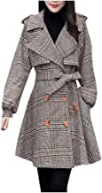 certainPL Women's Trench Coats Double-Breasted Long Coat with Belt, Fashion Womens Casual Plaid Print Double Breasted Spring Fall Long Trench Coat with Belt
