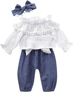 Ropa Bebe Niña Otoño Invierno 0 a 3 6 12 18 24 Meses de Recién Nacido - Manga Larga Camiseta con Volante a Borla de Pompon + de Pantalones de Arco + Diadema - 3PC/ Conjuntos