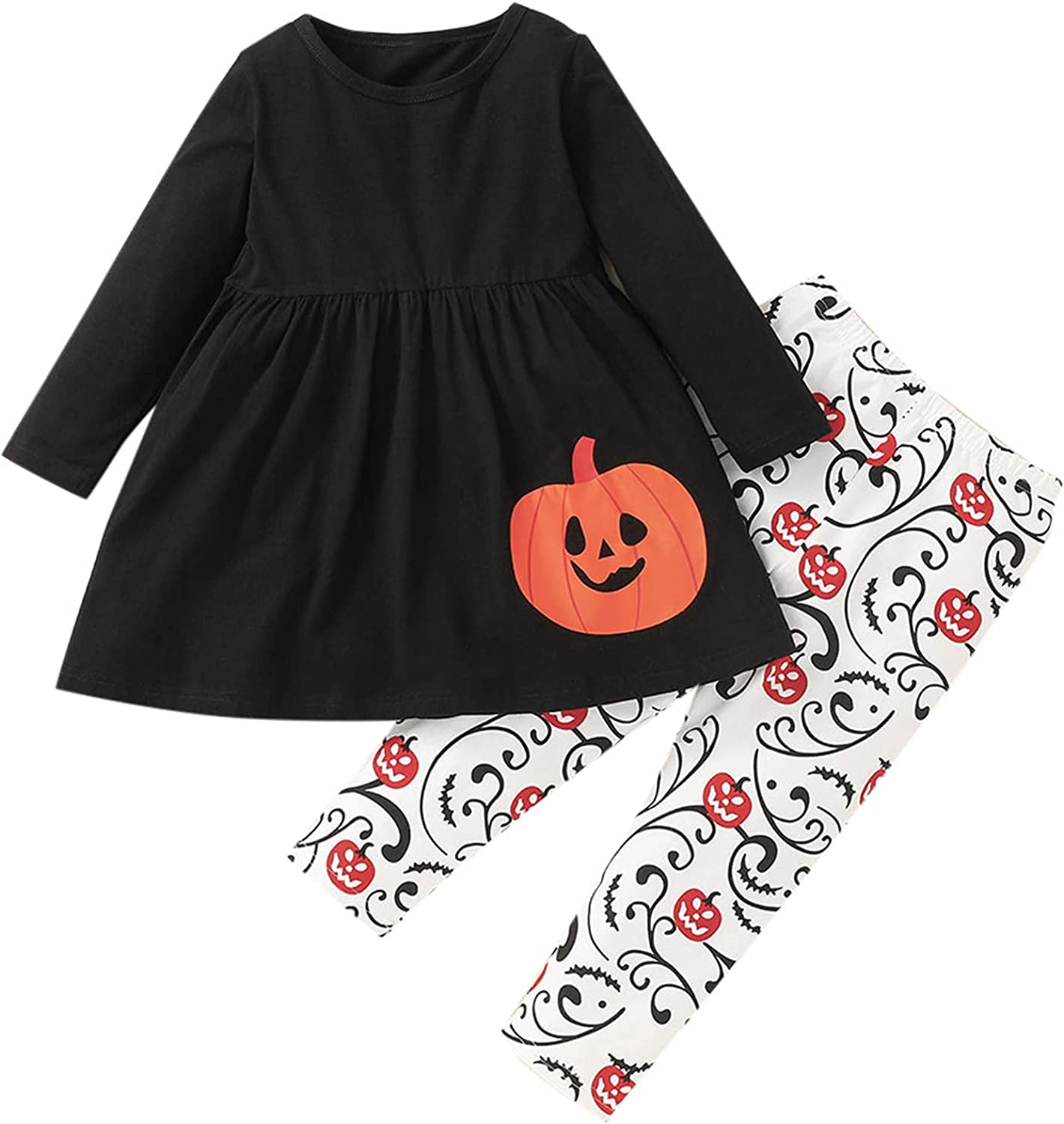 Jchen Halloween low-pricing Outfits for Girls Pieces Sets 2021 spring and summer new Pumpkin 3 Cartoon