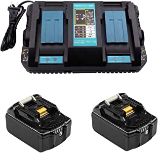 4A DC18RD Double Charger with 2 x 18V 5.0Ah Battery for Makita Construction Site Radio DMR112 DMR110 DMR115 DMR114 DMR107 ...