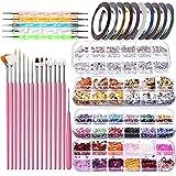Kits de decoración de arte de uñas 34pcs Accesorios para uñas DIY Nail Art Tools, 15pcs Cepillos de uñas + 10 Rolls Nail Art Slips + 5pcs Dill Pens + 4 Cajas Glitters
