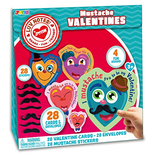Best Review Of JOYIN 28 Pack Valentines Day Gifts Cards for Kids with Mustache Stickers, Valentine's...