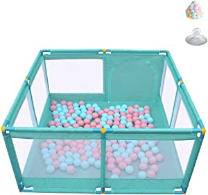 Playpen YXX- Green Toddlers Play Yard with 200 Balls Entertainment Center Baby Safety Fence Indoor Kids Playhouse Play Tent  Size 128 128 70cm