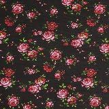 Fabulous Fabrics Chiffon schwarz, Blume, 150cm breit –