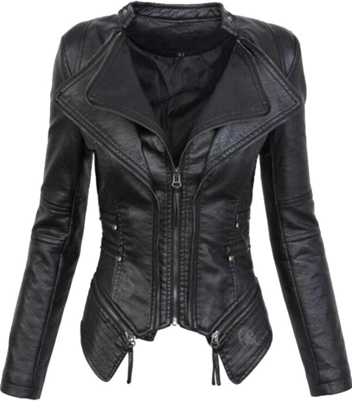 Esast Women's Short Coat Moto Biker Lapel Collar Slim Faux Leather Jackets