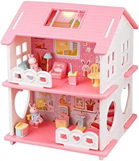 Wemfg DIY Dollhouse Kit Pink House Playset for Girls Kids Toddlers, Bunny Dollhouse Set with Furniture Accessories, Small ...
