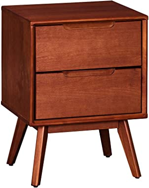 MUSEHOMEINC California Mid-Century Classic Style Wood Nightstand/End Table with Two Drawer,Nightstand/End Table for Bedroom/L