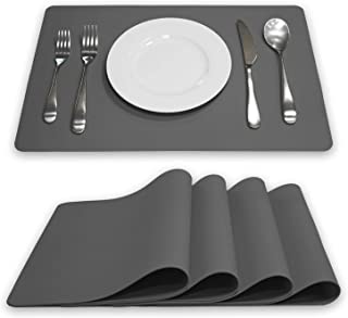 Belle Home Designs Silicone Placemats for Dining Table and Kitchen Countertops - Set of 4 - Non-Slip - Heat Resistant - Washable and Reusable - Kids and Pets Safe (Dark Gray)