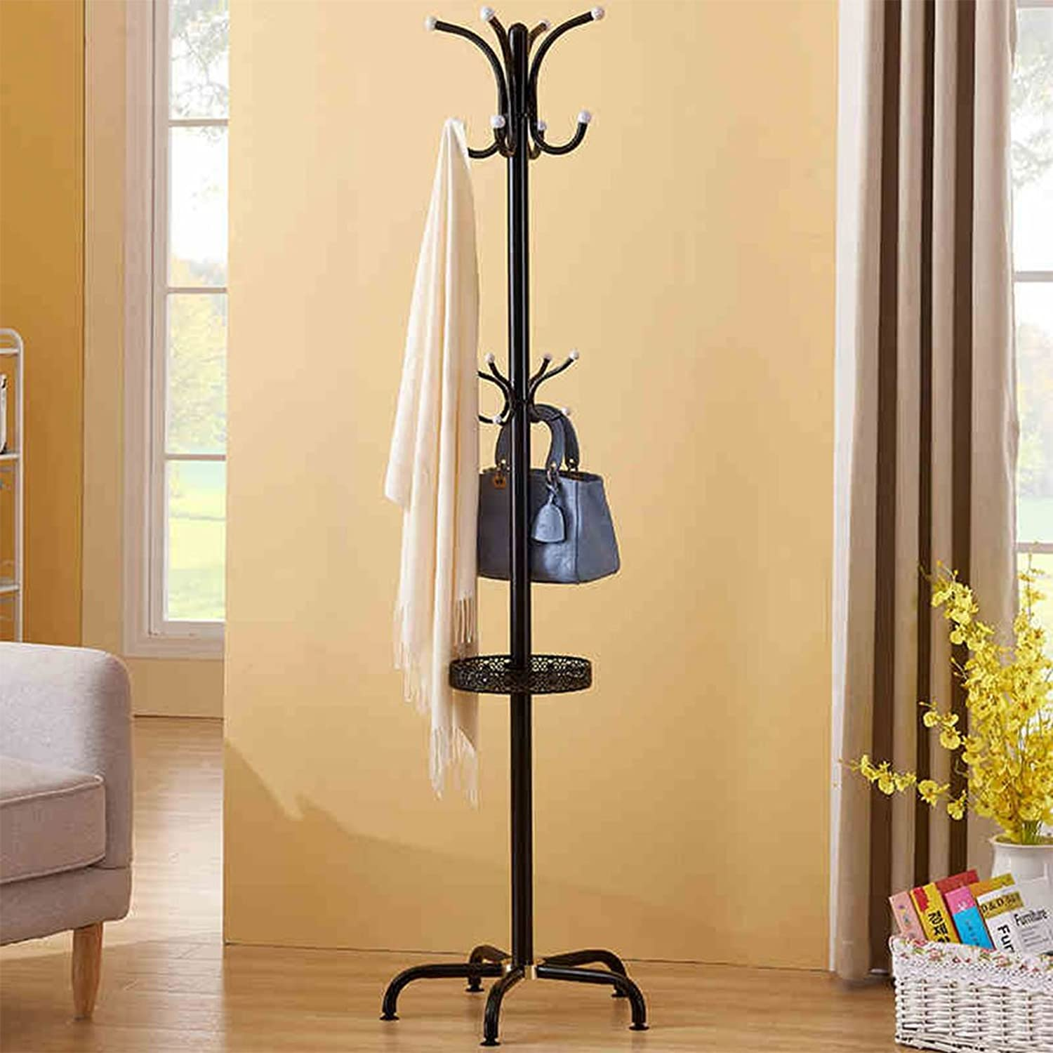 CL Coat Rack Floor Hanger Floor Bedroom Coat Hanger Simple Modern Interior Clothes Rack Black High 180cm Coat Rack