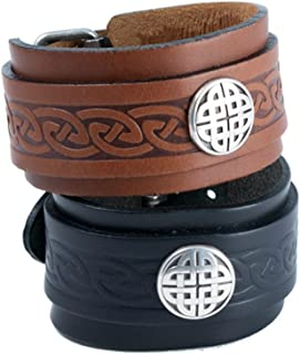 Lee River Leather Celtic Leather Bracelet Cuff & Buckle for Men Irish Made