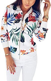 Xuanyu Women's Floral Print Slim Fit Bomber Jacket Lightweight Zip Up Long Sleeve Casual Coat