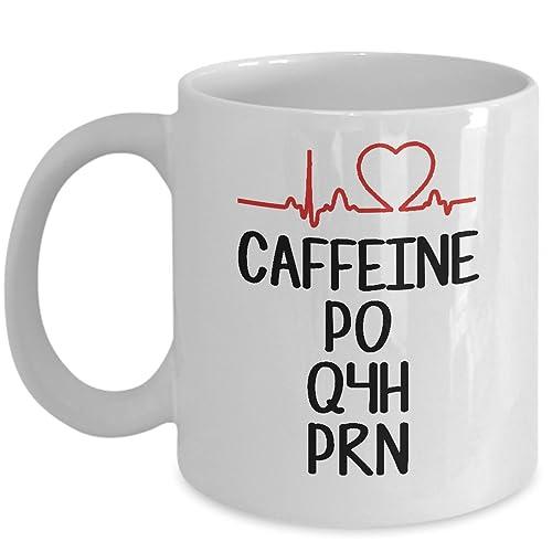 de837710f Funny Nurse Mug - Caffeine PO Q4H PRN Coffee & Teacup - 11oz Ceramic Cup -
