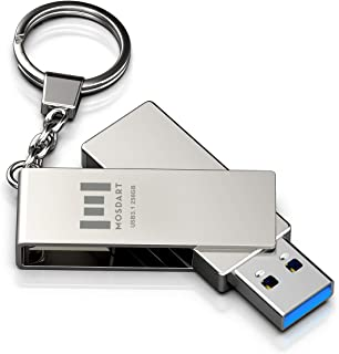 256GB USB 3.1 Flash Drive 300Mb/s Fast Speed and Rugged Metal Thumb Drive with Key Ring USB3.1 256 GB 360-degree Jump Driv...
