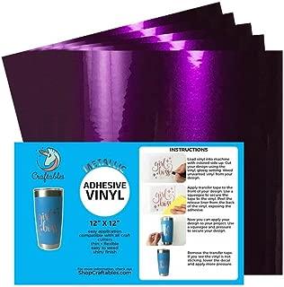 Craftables Purple Metallic Craft Vinyl for Cricut and Silhouette, Cameo - Chrome Polish Finish Vinyl - (5) 12