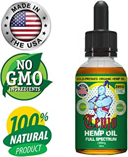 Tenjo Hemp Oil Extract for Pain & Stress Relief - 5000mg of Organic Hemp Extract - Grown & Made in USA - 100% Natural Hemp Seed Extract - Helps with Sleep, Skin & Hair
