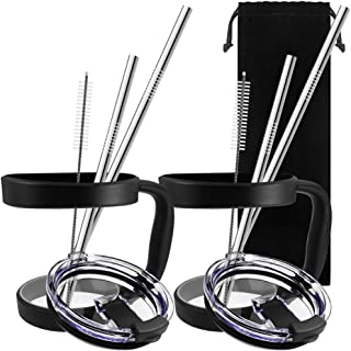 10 Pieces 20oz Tumbler Holders Handles + Tumbler Lids + Stainless Steel Straws + Cleaning Brushes, SourceTon Accessories Kit for Yeti Rambler Rtic(Old Style only) Ozark Trail Berg SIC