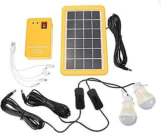 Uonlytech Solar Lighting System Outdoor Portable Solar Home System Kit with Solar Panel, Power Generator LED Light Bulbs, ...
