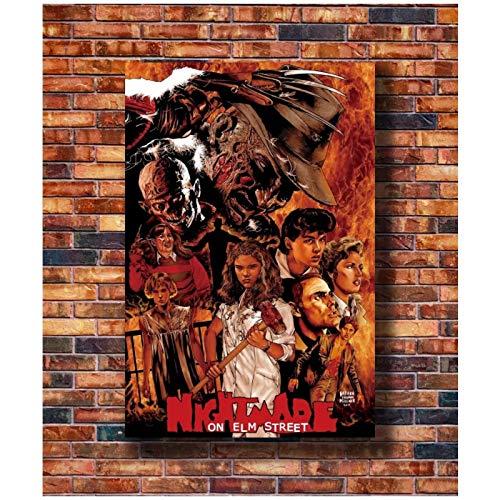 Raspbery Pesadilla en Elm Street película de terror Retro imagen abstracta póster e impresiones lienzo pintura decoración del hogar -50x75cm sin marco