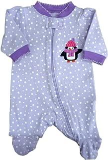 F Glory Infant Girl White Fleece Sleeper Snowman Print Sleep Play Creeper
