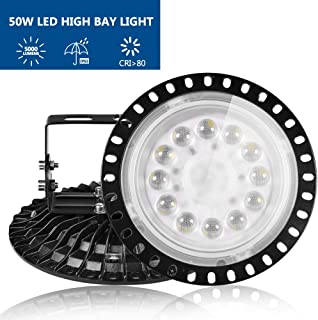 UFO LED High Bay Light 50W, Ankishi 8000lm AC 110V Lighting Fixture, 6500K Commercial Daylight , Stand Included , [150w MH/HPS Equivalent], for Industrial Warehouse,Factory,Gym,Workshop