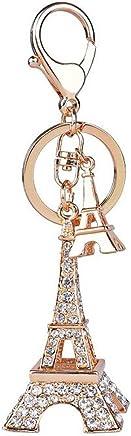 Fashion 3D Handmade Bling Crystal Metal Cute Diamond Keychain Key Ring Handbag Pendant for Girls or Women (Eiffel Tower)