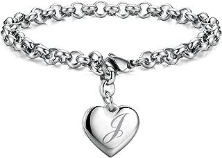 Initial Charm Bracelets Stainless Steel Heart 26 Letters Alphabet Bracelet for Women, Valentine's Day Gifts