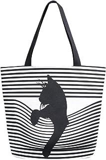 Mnsruu Isaoa Einkaufstasche aus Segeltuch, wiederverwendbar, mit süßer schwarzer Katze und Streifen, Reisetasche, College-Büchertasche für Frauen und Mädchen