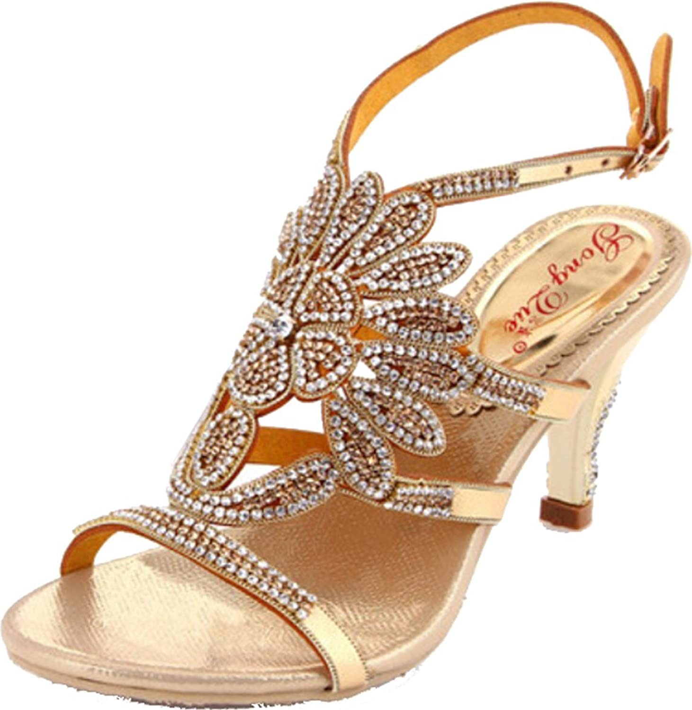 Abby Womens Sexy Comfort Wedding Party Job Rhinestone Leather Mid Heel Sandals