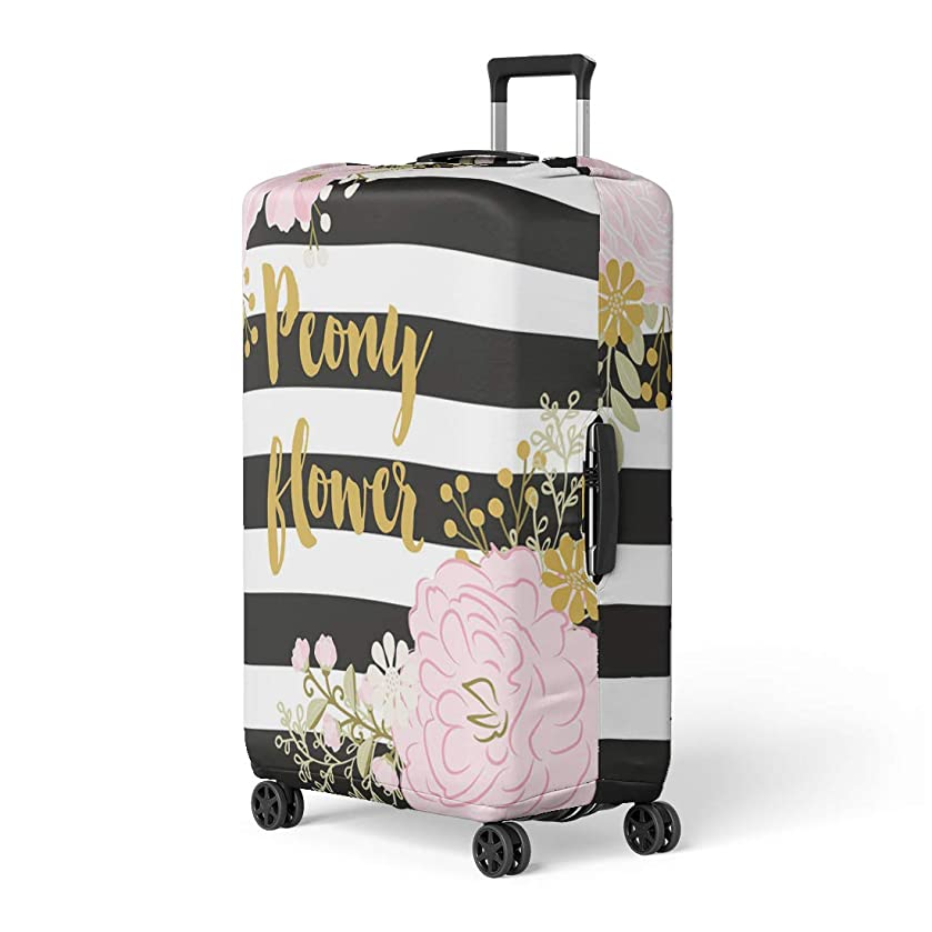 Semtomn Luggage Cover Pink Gold Peony Black and White Stripes Flower Peonies Travel Suitcase Cover Protector Baggage Case Fits 26-28 Inch