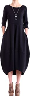 Women's Bubble Hem Crew Neck Long Sleeve Tunic Midi Dress with Pockets