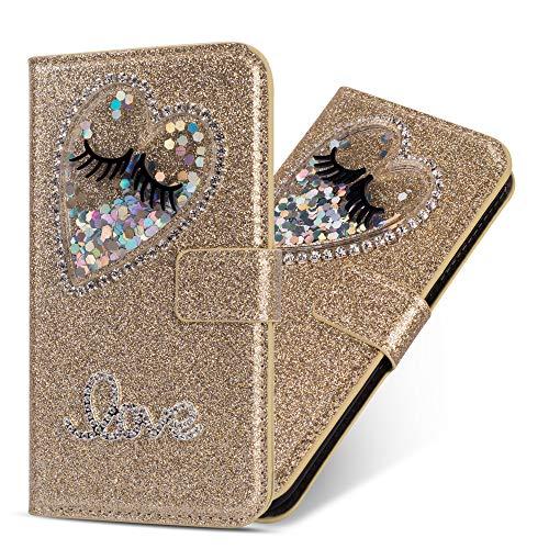 Miagon Hülle Glitzer für Samsung Galaxy A40,Luxus Diamant Strass Herz PU Leder Handyhülle Ständer Funktion Schutzhülle Brieftasche Cover,Gold