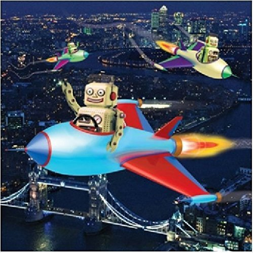 3D Holographic Flying Robots Birthday Card Square Greeting Cards