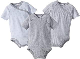 Bornino Wickelbodys Kurzarm Mouse & Elephant 3er-Pack - Baby-Bodys mit Druckknöpfen aus Reiner Baumwolle - 1x unifarben  2X Allover-Print