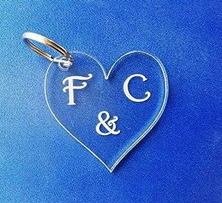 Portachiavi cuore con iniziali Regalo compleanno anniversario San Valentino