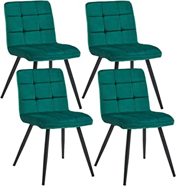 Duhome Upholstered Velvet Dining Chairs Reception Chairs, Tufted Accent Living Room Chairs with Metal Legs for Living Room/Ki