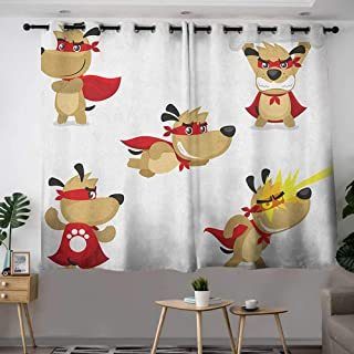 Curtains for Bedroom Dog Superhero Puppy with Paw Costume and Mystic Powers Laser Vision Supreme Talents Energy Efficient, Room Darkening W 55